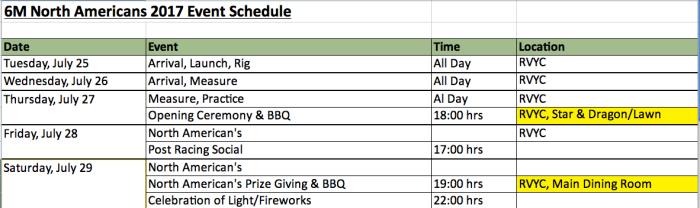 NA Schedule